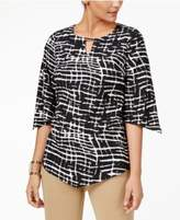 JM Collection Textured V-Sleeve Hardware Top, Created for Macy's