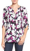 Chaus 'Gallery Flowers' Roll Sleeve Pintuck Blouse