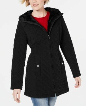 Laundry by Shelli Segal Faux-Fur-Trim Hooded Jacket