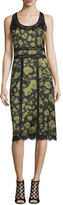Michael Kors Lace-Inset Floraflage-Print Tank Dress, Black/Army