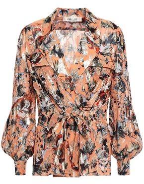Diane von Furstenberg Joanna Metallic Floral-print Fil Coupe Silk-blend Blouse