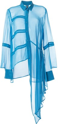 Taylor Analogy asymmetric sheer silk shirt