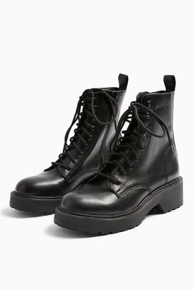 Topshop Womens Kacy Black Low Lace Boots - Black