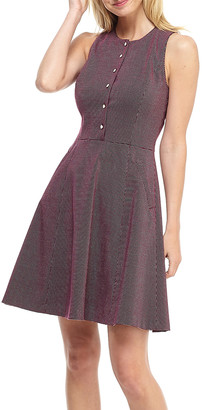 Gal Meets Glam Women's Casual Dresses WINE - Wine Gingham Pocket Meg Button-Front Sleeveless A-Line Dress - Women & Juniors