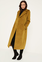 Missguided Green Premium Military Faux Wool Maxi Coat