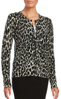 Lord & Taylor Animal Print Merino Wool Cardigan