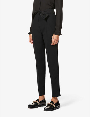 Claudie Pierlot Papaye tapered high-rise crepe trousers