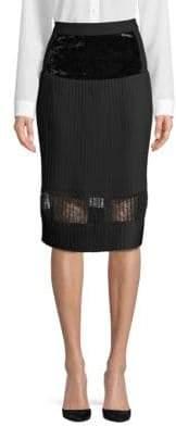 Pleated Velvet A-Line Skirt