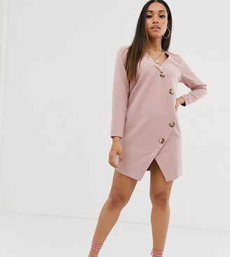 Asos DESIGN Petite asymmetric shift mini dress with tortoiseshell buttons-Pink