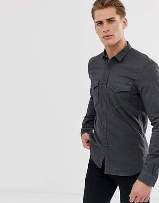Tom Tailor Long Sleeve Denim Shirt with Utility Pockets-Black