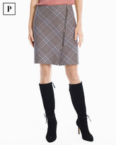 White House Black Market Petite Plaid Asymmetrical Zip-Front Skirt
