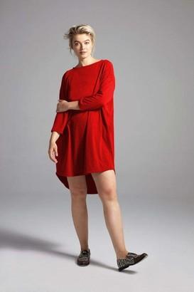 Shegul Khrstyana Three-Quarter Sleeve Dress in Poppy Red Size Large