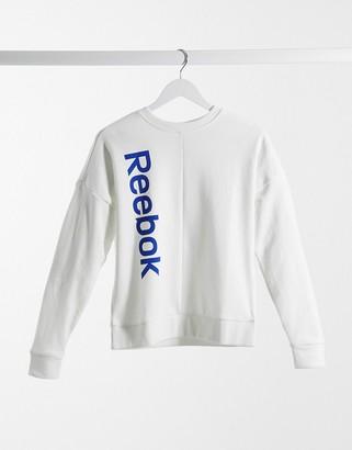Reebok training essentials linear logo sweatshirts in white