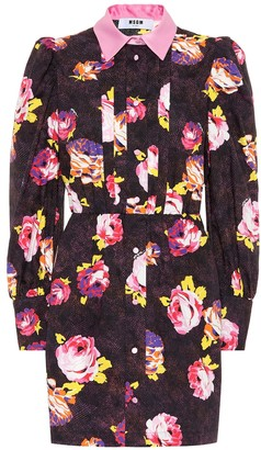 MSGM Rose cotton shirt dress