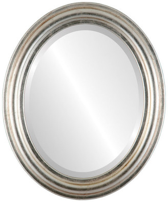 """The Oval And Round Mirror Store Philadelphia Framed Oval Mirror in Silver Leaf w/ Brown Antique, 25""""x3"""