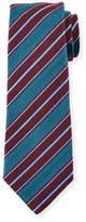 Kiton Woven Textured-Stripe Silk Tie