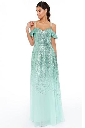 Goddiva Mint Flutter Sleeve Sequin & Chiffon Maxi Dress