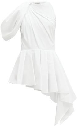Alexander McQueen Peplum Bodice-overlay Cotton Top - White