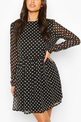 boohoo Polka Dot Chiffon Smock Dress