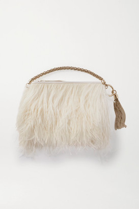 Jimmy Choo Callie Feather-trimmed Satin Clutch - Neutral