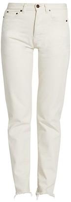 Saint Laurent Frayed Hem Mid-Rise Jeans