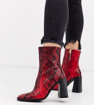 Co Wren wide fit block heeled boots in snake
