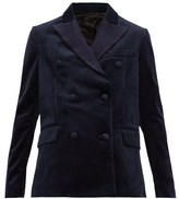 Golden Goose Misam Double-breasted Velvet Blazer - Womens - Navy