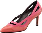 Lanvin Grosgrain-Trimmed Patent Pump, Pink