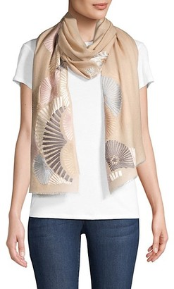 Janavi Shades Graphic-Embroidered Cashmere Scarf