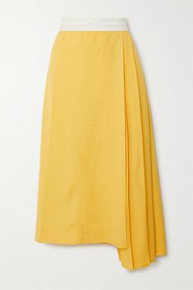 Peter Do Asymmetric Pleated Voile Midi Skirt - Yellow