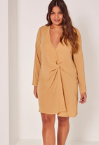 Missguided Plus Size Knot Oversize Dress Beige