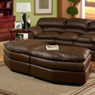 Omnia Leather Canyon Leather Conversation Ottoman Omnia Leather Body Fabric: Empire Butternut, Seat Cushion Fill: Standard Cushion Fill