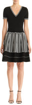 Carolina Herrera Geometric-Embroidered Knit Fit-&-Flare Dress