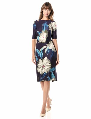 Gabby Skye Women's Elbow Sleeve Round Neck Floral Print Midi Sheath Dress