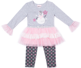 Little Lass Pink & Gray Snowman Tulle-Accent Tee & Leggings - Infant, Toddler & Girls