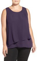 Sejour Faux Leather Trim Tiered Shell (Plus Size)