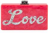 Edie Parker Jean Love Acrylic Clutch Bag, Hot Pink Multi