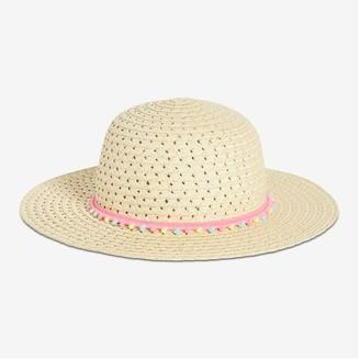 Joe Fresh Kid Girls' Pompom Straw Hat, Natural (Size L/XL)