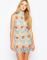 Glamorous Shift Dress With Crochet Overlay