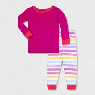 Lamaze Toddler Girls' 2pc Organic Cotton Pajama Set - White/Orange/Pink