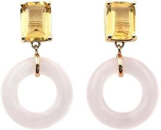 BONDEYE JEWELRY 14kt Yellow Gold Emerald Cut Munchkin Glazed Citrine And Rose Quartz Earrings