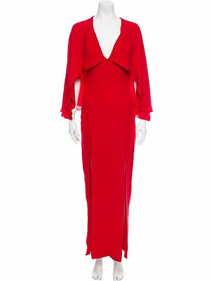 HANEY Slit-Accented Silk Dress Red