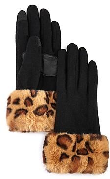 Echo Leopard Print Faux Fur-Cuff Tech Gloves