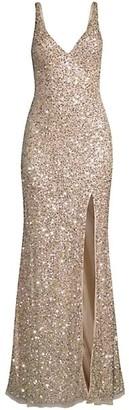 Mac Duggal V-Neck Sequin Sheath Gown