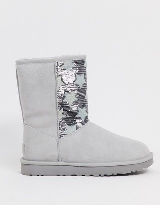 UGG classic short sequin star boots in grey