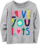 Carter's Love You Lots Long-Sleeve Cotton T-Shirt, Little Girls (2-6X)
