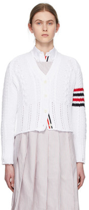 Thom Browne White Aran Cable 4-Bar Cardigan
