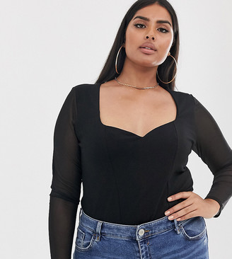 Asos DESIGN Curve sweetheart neck top with mesh sleeve-Black