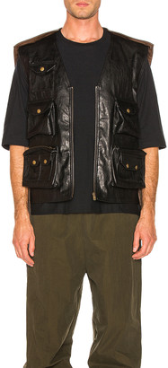 Y/Project Faux Leather Hunting Vest in Black | FWRD
