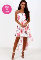Pink Boutique Always Together White Multi Floral Chiffon Dip Hem Maxi Dress